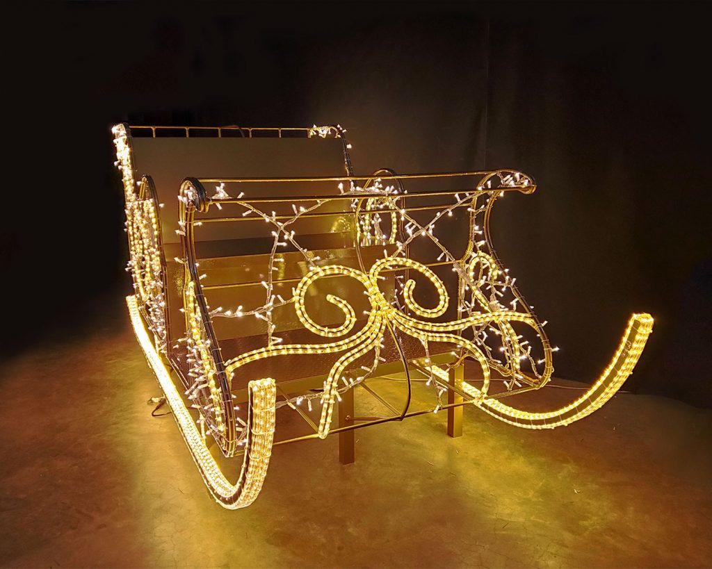 Interactive Sleigh in Lights Front